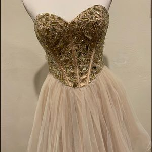 Champagne Beaded homecoming/prom dress